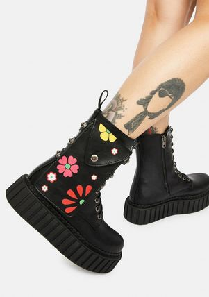 DOLLS KILL Flower Patterns Platform Round Toe Lace-up Casual Style