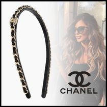 CHANEL Casual Style Leather Party Style Silver Office Style