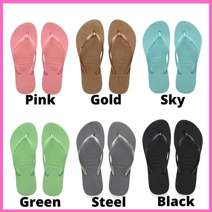 Logo Open Toe Rubber Sole Casual Style Plain Sport Sandals