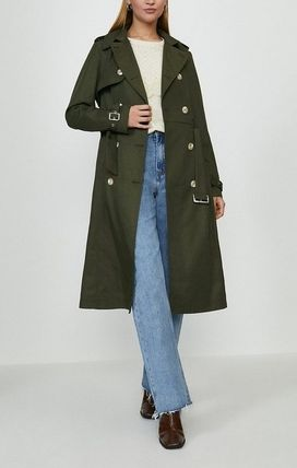 Casual Style Plain Medium Long Office Style Trench Coats
