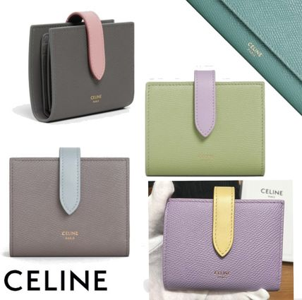 CELINE Folding Wallet Logo Calfskin Plain Leather Folding Wallets