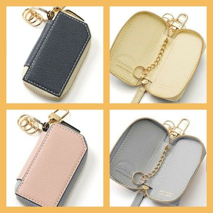 Plain Leather Logo Keychains & Bag Charms