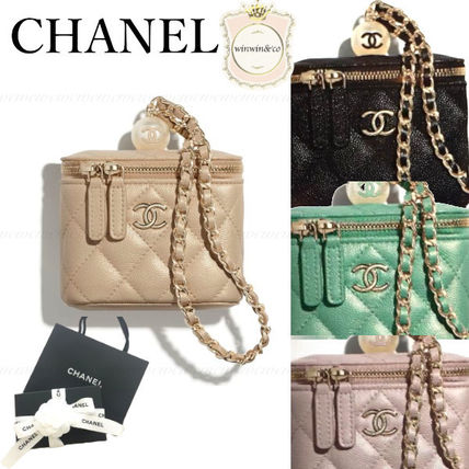CHANEL Chain Leather Elegant Style Logo Bags