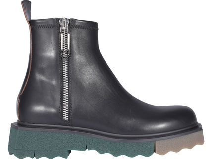 Off-White Plain Toe Street Style Plain Leather Engineer Boots