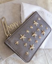 Jimmy Choo Star Leather Small Wallet Logo Coin Cases