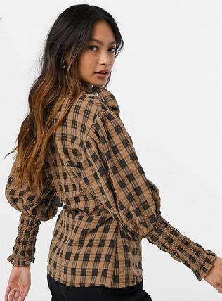 Other Plaid Patterns Long Sleeves Puff Sleeves