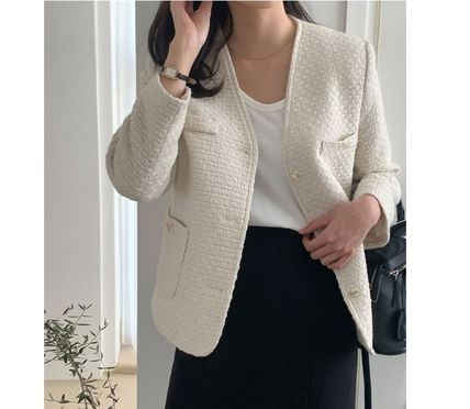 Casual Style Tweed Street Style Plain Medium Party Style