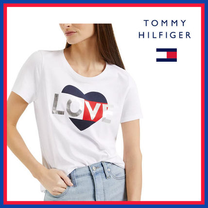 Tommy Hilfiger Crew Neck Street Style Plain Cotton Medium Short Sleeves
