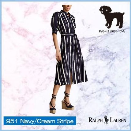 Stripes Casual Style A-line Silk Medium Short Sleeves