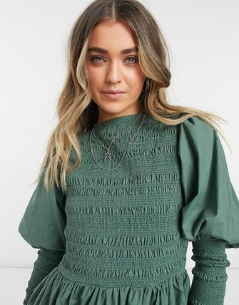 ASOS Crew Neck Casual Style A-line Flared Long Sleeves Plain