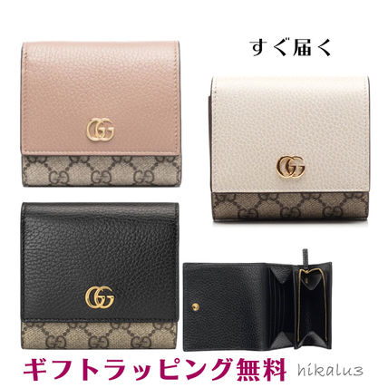 GUCCI GG Marmont Unisex Leather Small Wallet Logo Folding Wallets