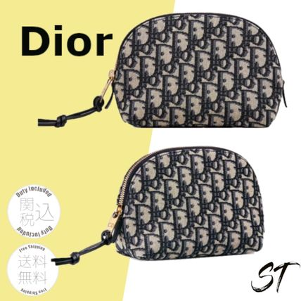 Christian Dior DIOR OBLIQUE Bridal Logo Street Style Pouches & Cosmetic Bags
