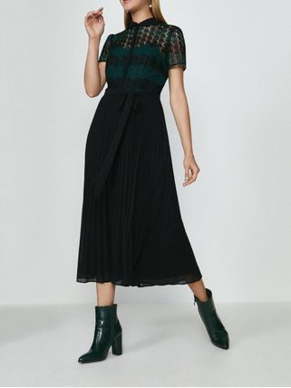 A-line Medium Short Sleeves Party Style Lace Dresses