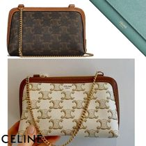 CELINE Triomphe Canvas Casual Style Canvas Lambskin 2WAY Chain Elegant Style