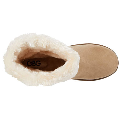 G BY GUESS Round Toe Casual Style Faux Fur Logo Flat Boots