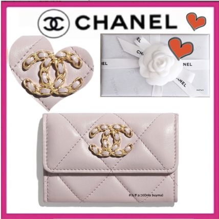 CHANEL MATELASSE Lambskin Chain Plain Small Wallet Coin Cases
