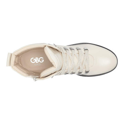G BY GUESS Lace-up Casual Style Faux Fur Logo Lace-up Boots