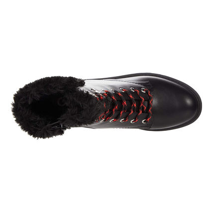 G BY GUESS Casual Style Faux Fur Logo Mid Heel Boots