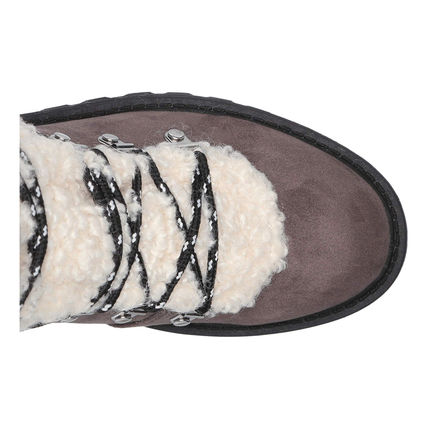 G BY GUESS Rubber Sole Casual Style Faux Fur Logo Mid Heel Boots