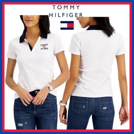 Tommy Hilfiger Logo Plain Cotton Medium Short Sleeves Office Style Polos
