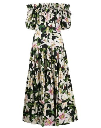 Dolce & Gabbana Tired Flower Patterns Casual Style Maxi Flared Cotton Long