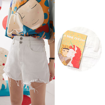 ELF SACK Short Casual Style Denim Blended Fabrics Tassel Plain