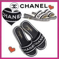CHANEL ICON Platform Casual Style Tweed Bi-color Plain Leather Mules