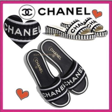 CHANEL ICON Mules Platform Casual Style Tweed Bi-color Plain Leather