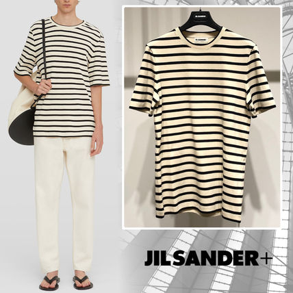 Jil Sander Crew Neck Stripes Cotton Short Sleeves Designers