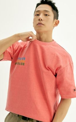 Logo Unisex U-Neck Collaboration Short Sleeves Street Style
