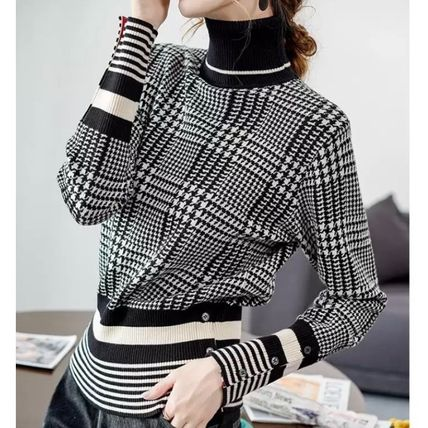 Other Plaid Patterns Zigzag Casual Style Rib Bi-color