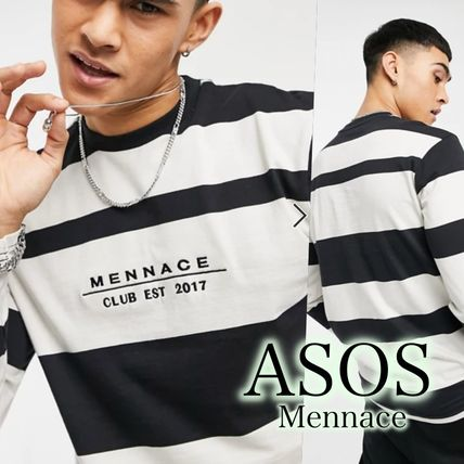 ASOS Long Sleeve Crew Neck Pullovers Stripes Street Style Long Sleeves Cotton