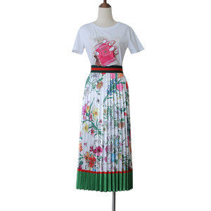 Flared Skirts Flower Patterns Tropical Patterns Casual Style