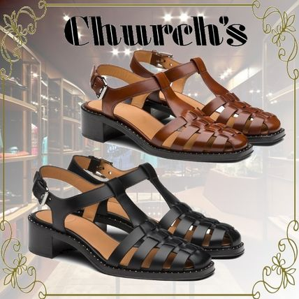 Square Toe Casual Style Leather Elegant Style Sandals