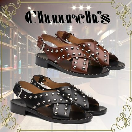 Casual Style Studded Leather Elegant Style Sandals