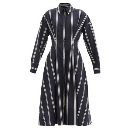 Bridal Stripes Casual Style Wool Flared Long Sleeves Cotton
