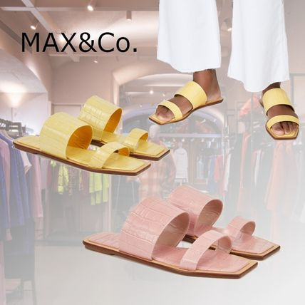 Max&Co. Open Toe Rubber Sole Casual Style Plain Leather Office Style