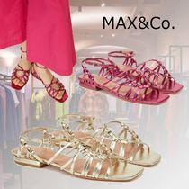 Max&Co. Open Toe Casual Style Plain Leather Party Style Office Style
