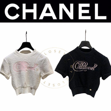 CHANEL ICON Crew Neck Short Casual Style Street Style Plain