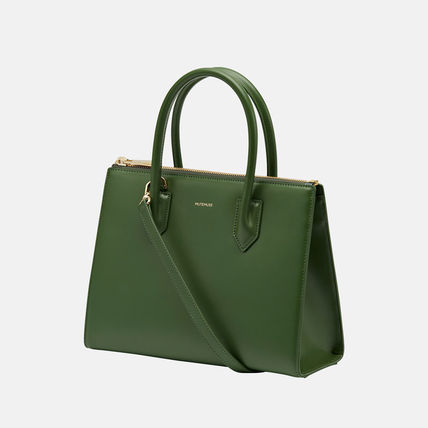 MUTEMUSE Casual Style Street Style Plain Leather Office Style
