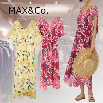 Max&Co. Flower Patterns Tropical Patterns Casual Style Silk Flared