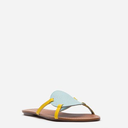 Open Toe Casual Style Bi-color Leather Elegant Style Mules