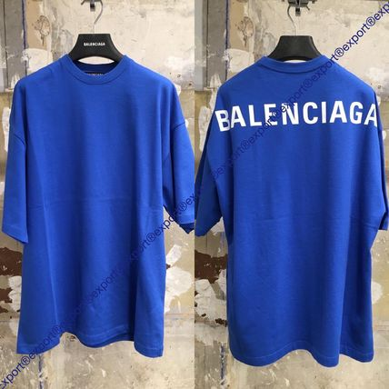 BALENCIAGA Crew Neck Street Style Plain Cotton Short Sleeves Oversized