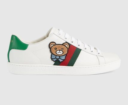GUCCI Ace Leather Logo Low-Top Sneakers