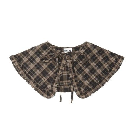 Ganni Gingham Leopard Patterns Casual Style Street Style Plain