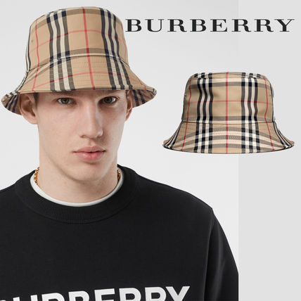 Burberry Unisex Street Style Wide-brimmed Hats