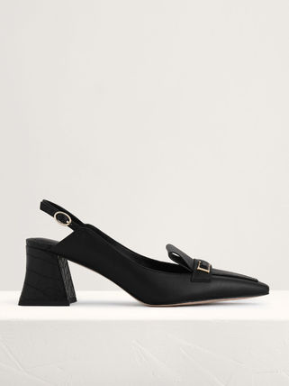 Pedro Square Toe Plain Leather Office Style Pumps & Mules