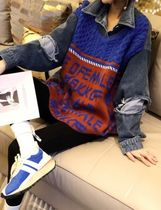 Cable Knit Casual Style Denim Street Style Long Sleeves