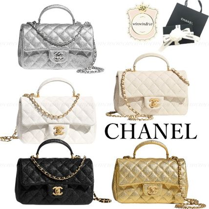 CHANEL Chain Leather Elegant Style Logo Handbags