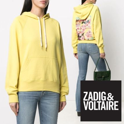 ZADIG & VOLTAIRE Hoodies & Sweatshirts Street Style Long Sleeves Plain Leather Cotton Logo